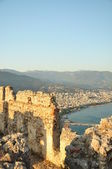 Walls of an ancient fortress with a panorama on the city — Stock Photo
