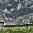 Stock Photo: Wooden lodge at wood
