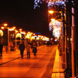 Stock Photo: Night street decorated with garlands