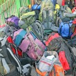 Pile of backpacks scout before the journey - Stock Photo