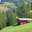 Wooden barn in South Tyrol between the mountains — Stock Photo