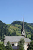 Pointed bell tower of a church in South Tyrol — Stock Photo