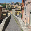 Ancient Roman aqueduct became a sidewalk in the town of Perugia — Stock Photo