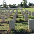 Headstones and tombs of a war cemetery - Stock Photo