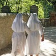 Two nuns dressed in white walk along the path — Stock Photo