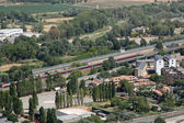 Panorama of the city of Orvieto and the train whizzes on track — Stock Photo