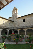 Bell tower in the quiet cloister of the Franciscan Friary — Stock Photo
