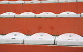 Empty seats in the stands of the stadium after the game football — Stock Photo
