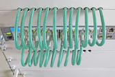 Network cable in a rack of data processing center — Stok fotoğraf