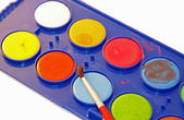 Watercolour palette for young painters — Stock Photo