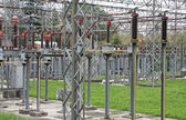 Isolators and switches to an energy substation — Stock Photo