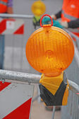 Lamp in a roadworks over the excavation — Stock Photo