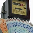 Постер, плакат: Electric current meter with many euro to be paid and