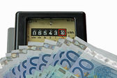 Electric current meter with many euro to be paid — Stock Photo