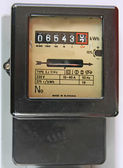 Electric energy meter old electromechanical type — Stock Photo