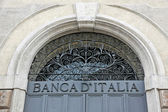 Written Bank of Italy with the iron door closed — Stock Photo