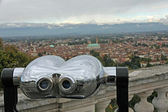 Binoculars to watch the landscape of the city of vicenza — Stock Photo