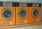 Electronic automatic washing machines for washing the laundry — Stock Photo