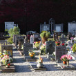 Cemetery with the graves of the deceased on the day of the dead — Stock Photo