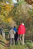 Familia con tres niños caminando por el sendero y mamá — Foto de Stock