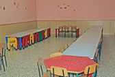 Chairs and tables in the canteen of the children of asylum — Stock Photo