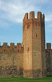 Ancient tower of the medieval castle of Montagnana — Stock Photo