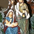 Nativity scene with Mary and Joseph and Jesus - Stock Photo