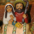 Nativity scene with Mary, Jesus, baby ethnic and Saint Joseph wi - Stock Photo