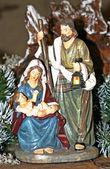 Nativity scene with Mary and Joseph and Jesus — Stock Photo
