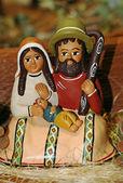 Kerststal met mary, Jezus, baby etnische en saint joseph wi — Stockfoto