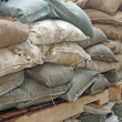 Royalty-Free Stock Photo: Brown and green sandbags to guard against attacks