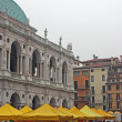 Basilica palladiana in vicenza with local market - Stock Photo