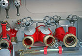 Faucets of firefighters to connect pumps and hoses — Stock Photo