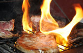 Pork broiled with the flame — Stock Photo
