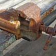 Rusty and old blacksmith vise — Stock Photo