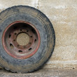 Stock Photo: Rubber wheel of big truck