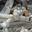 Rusted and old iron pipes and lead - Stock Photo
