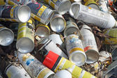 Empty spray cans used in an industry — Stock Photo