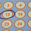 Tab of the lottery with a circled number - Foto de Stock