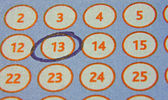 Tab of the lottery with a circled number — 图库照片
