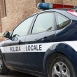 Municipal police car patrol in a town in Italy — Stock Photo