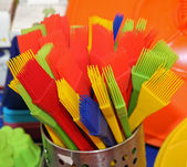 Brushes with plastic and silicone bristles to decorate cakes and — Stock Photo