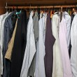Open closet with many elegant shirts for important meetings — Stok fotoğraf