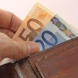 Hand that pays taking the euro money from wallet — Stock Photo #21197721