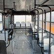 Empty seats inside the bus for urban transport of persons — Stock Photo