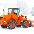 Stockfoto: Snow plows to work clearing snow