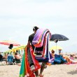 Hawker beach towels on the beach — Stock Photo