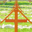 Stock Photo: Crosses in cemetery of soldiers killed in war