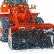 Snow plow clears the streets during a snow storm — Stock Photo