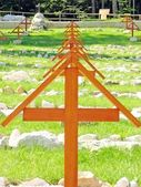 Crosses in a cemetery of soldiers killed in war — Stock Photo